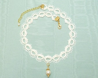 Tatted Lace Choker necklace -The Debutante with Swarovski pearl