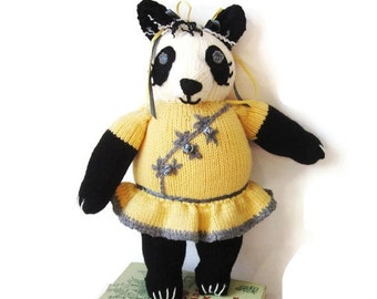 Toy Panda Bear/ Stuffed Animal/ Hand Knitted OOAK/Baby Gift/Custom Made Chinese Panda