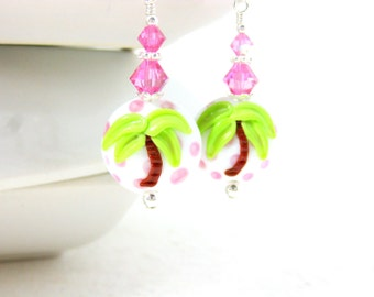 Palm Tree Earrings, Polka Dot Earrings, Pink Green Earrings, Lampwork Earrings, Tropical Earrings, Beach Earrings, Summer - Life's A Beach