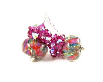 Colorful Jewel Tone Earrings, Fuchsia Crystal Earrings, Pink Purple Blue Green Earrings, Boro Lampwork Earrings Party Earrings  Color Splash