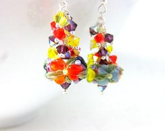 Colorful Floral Earrings, Crystal Dangle Earrings, Lampwork Earrings, Botanical Jewelry, Nature Earrings, Yellow Orange Purple Blue - Autumn