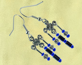 Silver, black and blue chandelier earrings