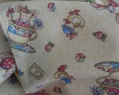 Button-Eye Bunny  - Traditional Baby Girl's Cotton Flannel Backed Blanket by Nahanni Forest, 28x43 inches