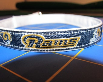 Los Angeles Rams Cat or Small Dog Collar with White or Gold Backing