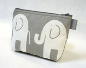 Elephant Fabric Gadget Pouch Cosmetic Bag Zipper Pouch Makeup Bag Cotton Zip Pouch Gray White MTO