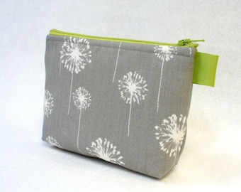 Apple Green Gray White Dandelion Fabric Bridesmaid Pouch Cosmetic Bag Zipper Pouch Makeup Bag Gadget Pouch MTO