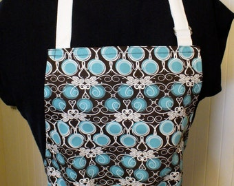 Hearts Vines Dots Fabric Full Apron Chefs Apron Adjustable Apron Womens Apron Turquoise Blue Brown Handmade MTO