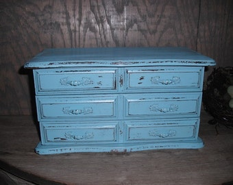 Gorgeous upcycled Vintage Jewelry Box AQUA Blue Shabby Chic Cottage  Vintage 1905 Butterflies postcard