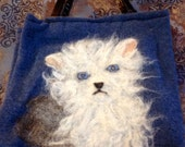 Sweet White & Grey Kitten Cashmere Purse