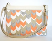 """Canvas Laptop Bag for 13.3"""" MacBook Air, MacBook Pro Padded with Pocket - Orange Chevron"""