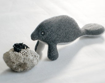 Eco-friendly MANATEE Soft Sculpture Plush TOY - PELUCHE Endangered Babies, Vegan, Eco-Felt & Organic Cotton Stuffing [lamantin pup - manatí]
