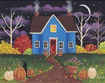 Night Fall Folk Art Print
