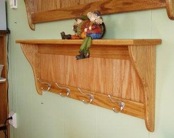Oak Coat Rack With Satin Chrome Hooks Solis Oak Wall Shelf Display Hanging Rack