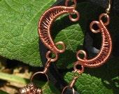 ON SALE! - Copper Wire Weaved Crescent Moon Belly Dance Earrings for Pierced Ears