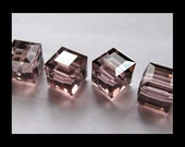 8mm Light Rose Satin Swarovski Cube Beads - (6)