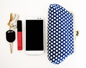 Navy White Polka Dot Mini Clutch, Phone Case, Christmas Gift under 25, Tampon Holder, Makeup Cosmetic Pouch