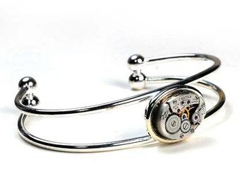 Steampunk 1940s Elgin Watch Movement Bracelet