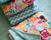 baby girl sheet and blanket set in Forest Friends in WATERMELON