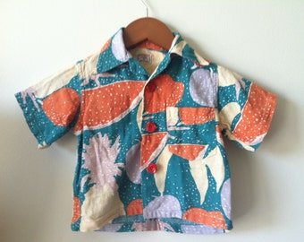 SALE Vintage Boy Hawaiian Barkcloth Aloha Novelty Print Shirt Size 4
