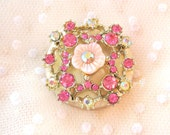 Pretty in Pink Sweet Flower Magnet Repurposed Vintage Brooch Shabby Chic Style