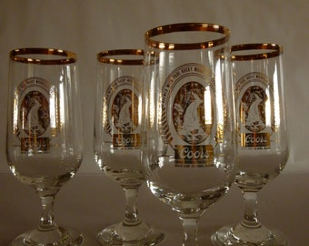Adolph Coors, Golden Colorado 4 Gold Rimmed Bar Glasses