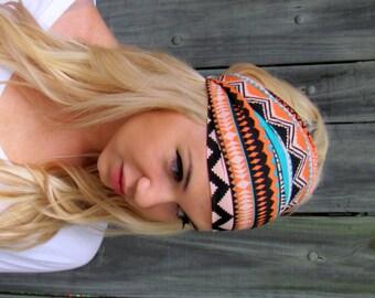 Yoga Wide Headband Turban Running Band Turband Orange Blue Black Aztec Headband Cotton Workout HeadBand Bohemian Womens Hair Accessories