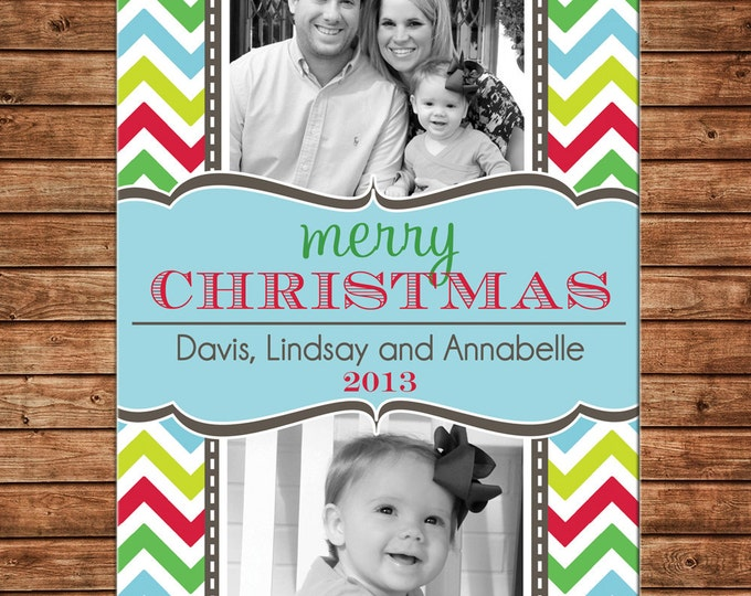 Photo Picture Christmas Holiday Card Multi Bright Chevron Print Preppy - Digital File