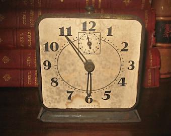 Vintage shabby alarm clock, dark metal table clock, display clock, retro metal alarm clock, non-working clock, photo prop altered art supply