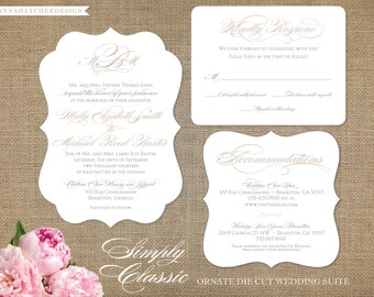 Simply Classic Ornate Wedding Invitation, Reply, Enclosure Card - Complimentary Customizations - Free Hard Copy Proof, FAST/ FREE SHIPPING