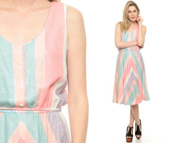 CHEVRON Sundress Rainbow Stripe Dress 70s Hippie PASTEL Striped 1970s Boho Sun Button Up Midi High Waisted Scoop Neck Summer Medium Large