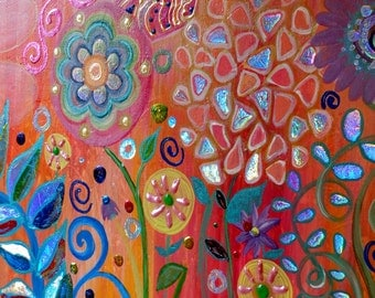 Childrens Wall Art Original Acrylic Painting Foil accents on Canvas Beautiful Colors  Heather Montgomery Art