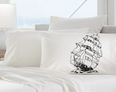 One (1) Black Nautical Sail Boat Ship Standard Pillowcase pillow case cover