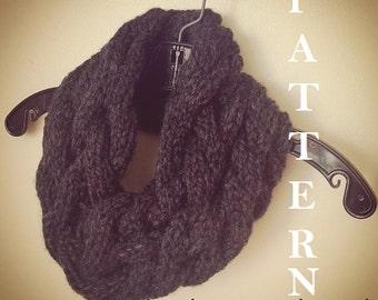 Knit Cowl Pattern, Knit Scarf Cowl Pattern, Knit Infinity Scarf, Cabled Scarf Pattern, Cowl Knitting Pattern