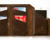 """Leather iPhone Wallet """"The Data Dave"""" in Chocolate Espresso"""