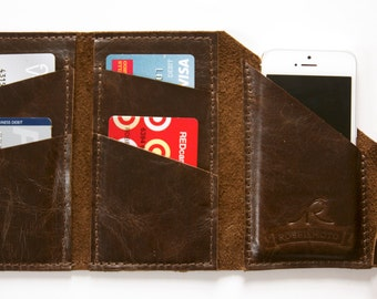 "Leather iPhone Wallet ""The Data Dave"" in Chocolate Espresso"