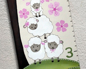 Canvas Growth Chart Custom Pink and White Sheep Lambs