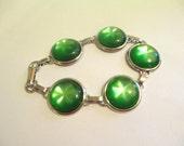 Vintage 60's Green Moonglow Lucite Bracele DEADSTOCK