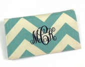 Personalized Chevron Fabric Checkbook Cover for Duplicate Checks with Pen Holder - Your Name or Monogram, Five Fabric Choices
