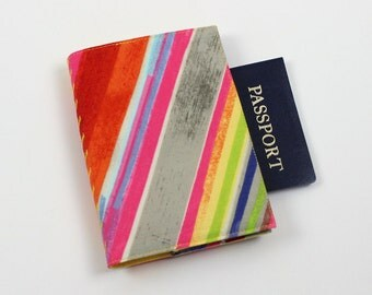 Fiesta Geometric Striped Passport Cover, Travel Wallet, Cotton Fabric, Blue, Orange, Gray
