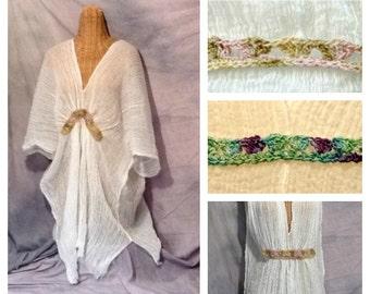 Boho Chic Kimono Caftan Cover Up Knee, Midi, Maxi or Tall, Beach Spa White One Size Cotton Boho, Mermaid