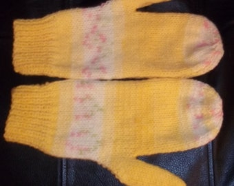 Hand Knitted Mittens in DK Magic Fair Isle Effect Multi Colour Yellows