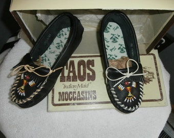 Moccasins Taos Black Beaded Leather Moccasins  size 5 Deadstock New in Original Box Vintage Women's Shoes