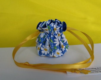 AMAZING DAISY Mini Jewelry Bag - Travel Pouch - Fabric Jewelry Pouch - Tote