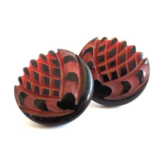 Vintage Clip on Carved Lotus Flower Earrings