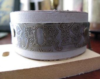 Paris Etched Nickel Leather Cuff Bracelet Chalk Paint Eiffel Charm