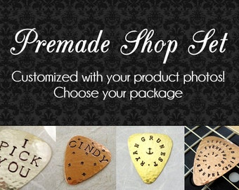 Add Product PHOTOS to Etsy Shop Banner - Black Damask Graphics Package with Personalized Pictures - Premade Design