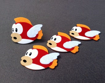 Cheep Cheep Mario brothers Felt Applique (Set of 4 pieces)