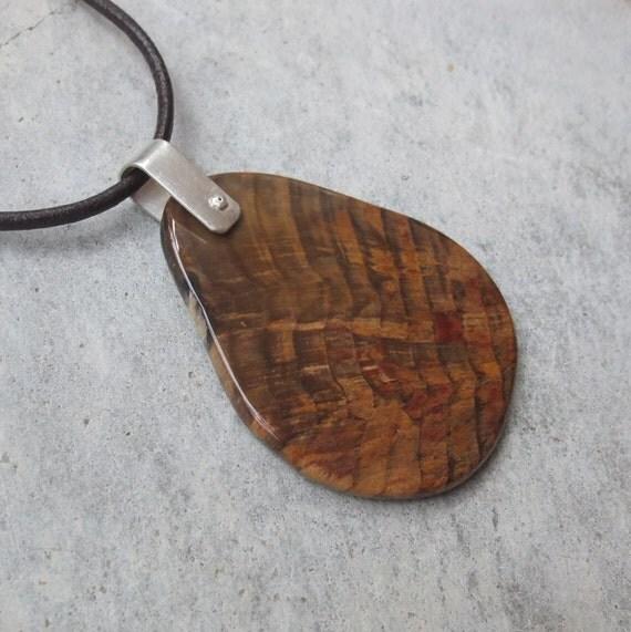 petrified wood pendant necklace gem statement necklace