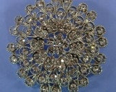 Rhinestone Brooch Pin Back Style 15 Magnificent Estate Inspired Brooch Bouquet Accessory Approx 3in Silver Crystal Jewelry Supplies