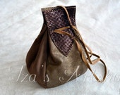 Golden and Brown Metallic Medieval Leather Pouch